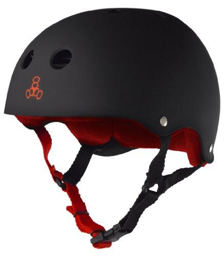 ヘルメット スケボー スケートボード 海外モデル 直輸入 1313 Triple Eight Sweatsaver Liner Skateboarding Helmet, Black Rubber w/ Red, Largeヘルメット スケボー スケートボード 海外モデル 直輸入 1313