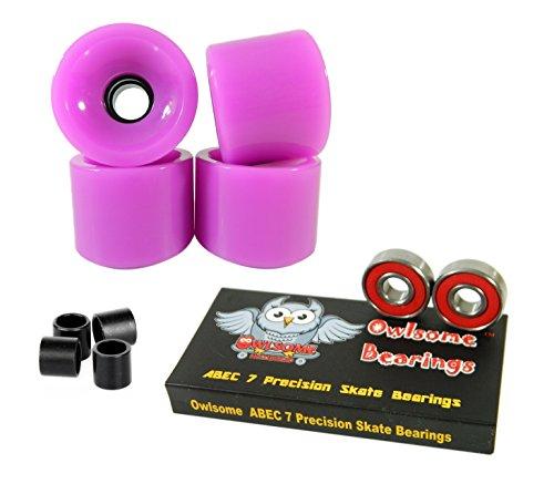 贈呈 無料ラッピングでプレゼントや贈り物にも 逆輸入並行輸入送料込 ベアリング スケボー スケートボード 海外モデル 直輸入 送料無料 Owlsome ABEC Skateboard Bearings Purple + Precision 税込 Wheels 7 Longboard Solid 70mm
