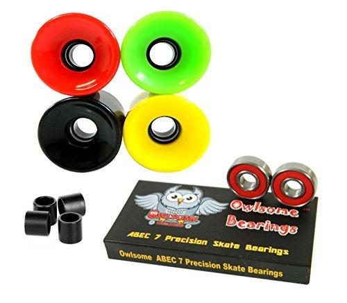 ベアリング スケボー スケートボード 海外モデル 直輸入 Owlsome ABEC 7 Precision Bearings + 70mm Longboard Skateboard Wheels (Solid Rasta)ベアリング スケボー スケートボード 海外モデル 直輸入