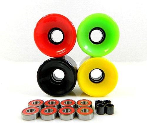 ベアリング スケボー スケートボード 海外モデル 直輸入 70mm Longboard Skateboard Wheels + ABEC 7 Bearings Spacers (Solid Rasta)ベアリング スケボー スケートボード 海外モデル 直輸入