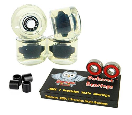 ベアリング スケボー スケートボード 海外モデル 直輸入 Owlsome ABEC 7 Precision Bearings + 65mm Longboard Skateboard Wheels (Gel Clear)ベアリング スケボー スケートボード 海外モデル 直輸入
