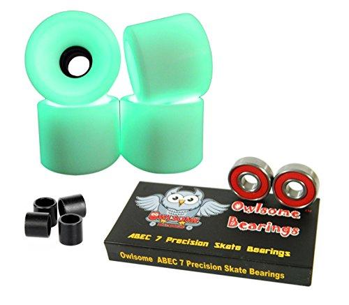 ベアリング スケボー スケートボード 海外モデル 直輸入 【送料無料】Owlsome ABEC 7 Precision Bearings + 65mm Longboard Skateboard Wheels (Glow in The Dark)ベアリング スケボー スケートボード 海外モデル 直輸入
