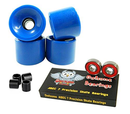 無料ラッピングでプレゼントや贈り物にも 逆輸入並行輸入送料込 ベアリング スケボー スケートボード 海外モデル 直輸入 送料無料 Owlsome ABEC Precision Skateboard Bearings 65mm 買収 Wheels Blue Solid + 7 現金特価 Longboard