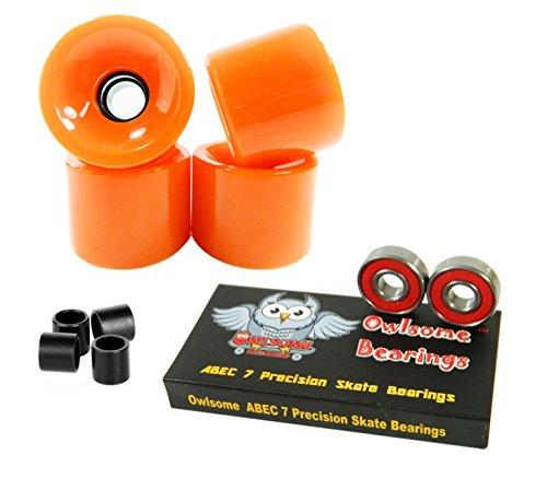 ベアリング スケボー スケートボード 海外モデル 直輸入 【送料無料】Owlsome ABEC 7 Precision Bearings + 65mm Longboard Skateboard Wheels (Solid Orange)ベアリング スケボー スケートボード 海外モデル 直輸入