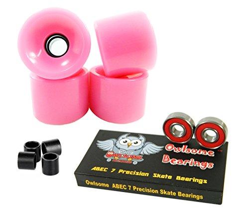 ベアリング スケボー スケートボード 海外モデル 直輸入 Owlsome ABEC 7 Precision Bearings + 65mm Longboard Skateboard Wheels (Solid Pink)ベアリング スケボー スケートボード 海外モデル 直輸入