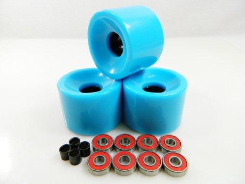 ベアリング スケボー スケートボード 海外モデル 直輸入 65mm Longboard Skateboard Wheels + ABEC 7 Bearings Spacers (Baby Blue)ベアリング スケボー スケートボード 海外モデル 直輸入