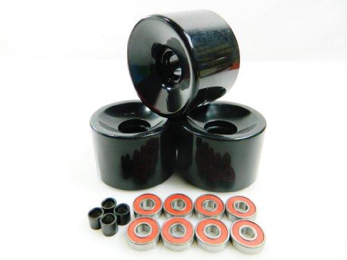 ベアリング スケボー スケートボード 海外モデル 直輸入 【送料無料】65mm Longboard Skateboard Wheels + ABEC 7 Bearings Spacers (Black)ベアリング スケボー スケートボード 海外モデル 直輸入