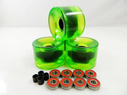 ベアリング スケボー スケートボード 海外モデル 直輸入 65mm Longboard Skateboard Wheels + ABEC 7 Bearings Spacers (Gel Green)ベアリング スケボー スケートボード 海外モデル 直輸入