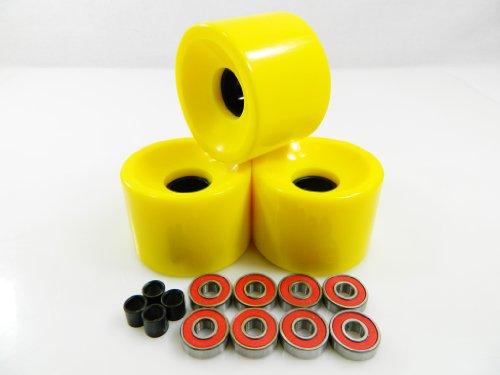 無料ラッピングでプレゼントや贈り物にも 逆輸入並行輸入送料込 ベアリング スケボー スケートボード 海外モデル 直輸入 送料無料 65mm ABEC 7 Longboard Skateboard 店内全品対象 Wheels Bearings Yellow お求めやすく価格改定 Spacers +