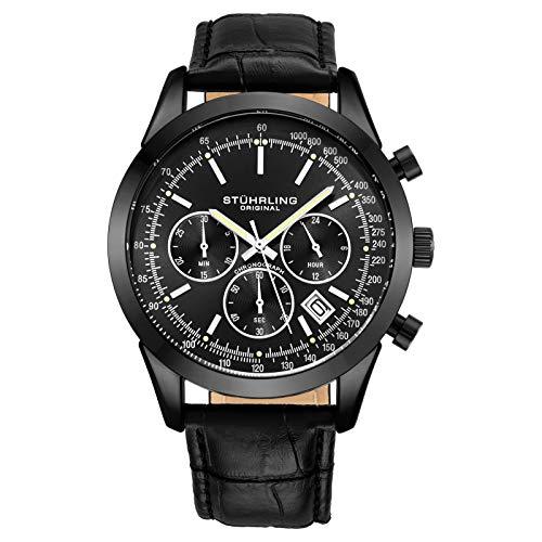 ストゥーリングオリジナル 腕時計 メンズ Stuhrling Original Chronograph Mens Watch Analog Watch Dial with Date - Tachymeter, Leather or Mesh Band - 3975 Watches for Men Collection (Black/Black/Black Case)ストゥーリングオリジナル 腕時計 メンズ