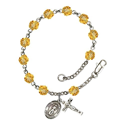 Bonyak Jewelry ブレスレット ジュエリー アメリカ アクセサリー 【送料無料】Bonyak Jewelry St. Francis of Assisi Silver Plate Rosary Bracelet 6mm November Yellow Fire Polished Beads CrucBonyak Jewelry ブレスレット ジュエリー アメリカ アクセサリー