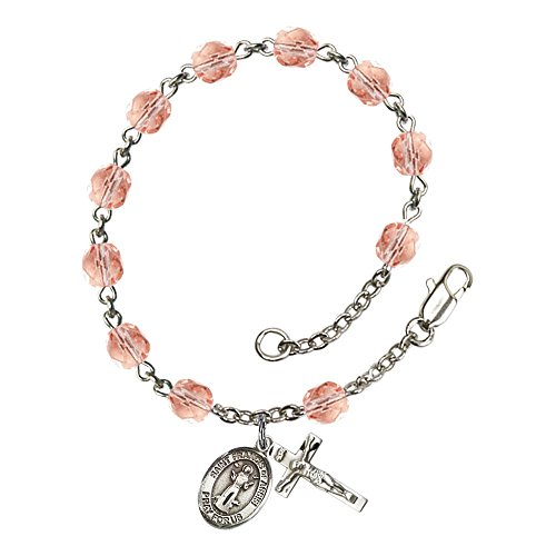 Bonyak Jewelry ブレスレット ジュエリー アメリカ アクセサリー 【送料無料】Bonyak Jewelry St. Francis of Assisi Silver Plate Rosary Bracelet 6mm October Pink Fire Polished Beads CrucifiBonyak Jewelry ブレスレット ジュエリー アメリカ アクセサリー