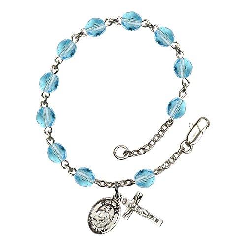Bonyak Jewelry ブレスレット ジュエリー アメリカ アクセサリー 【送料無料】Bonyak Jewelry St. Jude Thaddeus Silver Plate Rosary Bracelet 6mm March Light Blue Fire Polished Beads CrucifiBonyak Jewelry ブレスレット ジュエリー アメリカ アクセサリー