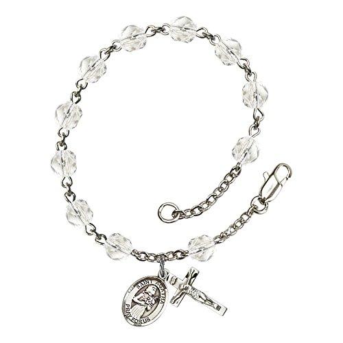 Bonyak Jewelry ブレスレット ジュエリー アメリカ アクセサリー 【送料無料】Bonyak Jewelry St. Agatha Silver Plate Rosary Bracelet 6mm April Crystal Fire Polished Beads Crucifix Size 5/8Bonyak Jewelry ブレスレット ジュエリー アメリカ アクセサリー