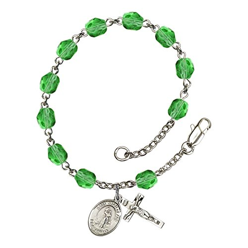 Bonyak Jewelry ブレスレット ジュエリー アメリカ アクセサリー 【送料無料】Bonyak Jewelry St. Joan of Arc Silver Plate Rosary Bracelet 6mm August Green Fire Polished Beads Crucifix SizeBonyak Jewelry ブレスレット ジュエリー アメリカ アクセサリー