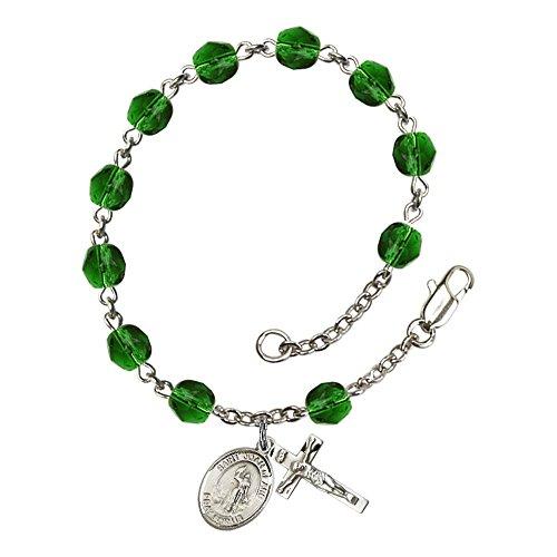Bonyak Jewelry ブレスレット ジュエリー アメリカ アクセサリー 【送料無料】Bonyak Jewelry St. Joan of Arc Silver Plate Rosary Bracelet 6mm May Green Fire Polished Beads Crucifix Size 5/Bonyak Jewelry ブレスレット ジュエリー アメリカ アクセサリー