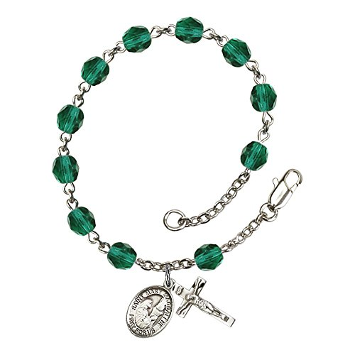 Bonyak Jewelry 18 Inch Rhodium Plated Necklace w// 4mm Sterling Silver Beads and Saint Mary Magdalene of Canossa Charm