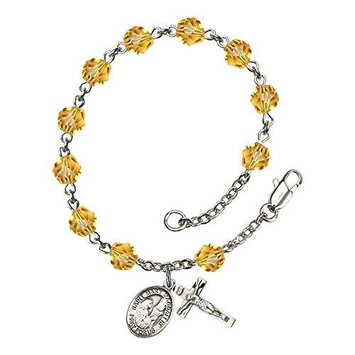 Bonyak Jewelry ブレスレット ジュエリー アメリカ アクセサリー 【送料無料】Bonyak Jewelry St. Mary Magdalene Silver Plate Rosary Bracelet 6mm November Yellow Fire Polished Beads CrucifiBonyak Jewelry ブレスレット ジュエリー アメリカ アクセサリー