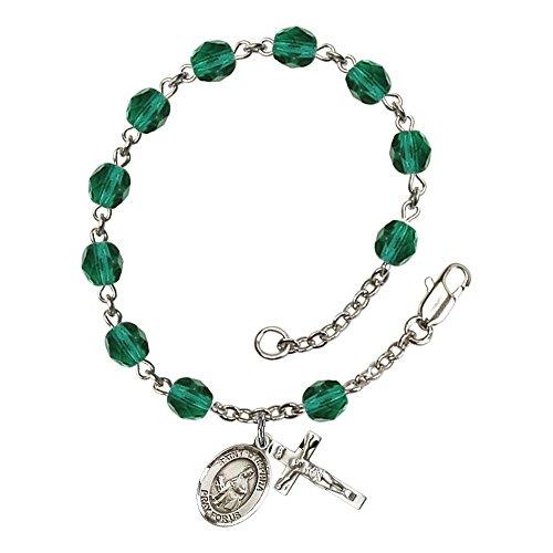 Bonyak Jewelry ブレスレット ジュエリー アメリカ アクセサリー 【送料無料】Bonyak Jewelry St. Dymphna Silver Plate Rosary Bracelet 6mm December Blue Fire Polished Beads Crucifix Size 5/Bonyak Jewelry ブレスレット ジュエリー アメリカ アクセサリー