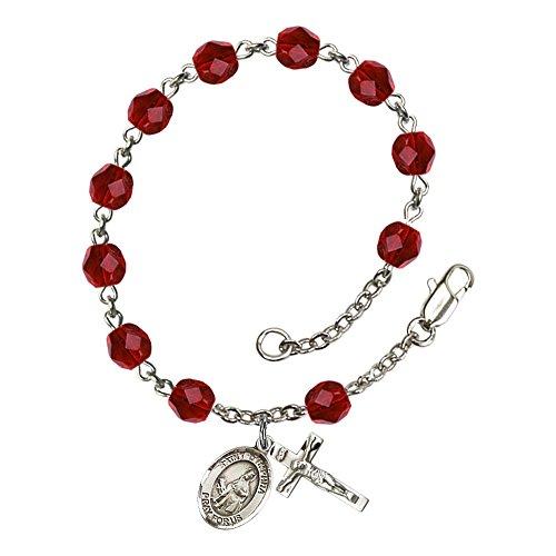 Bonyak Jewelry ブレスレット ジュエリー アメリカ アクセサリー 【送料無料】Bonyak Jewelry St. Dymphna Silver Plate Rosary Bracelet 6mm July Red Fire Polished Beads Crucifix Size 5/8 x 1Bonyak Jewelry ブレスレット ジュエリー アメリカ アクセサリー