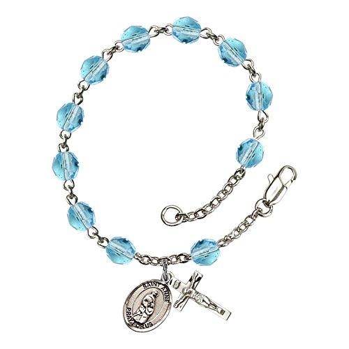 Bonyak Jewelry ブレスレット ジュエリー アメリカ アクセサリー 【送料無料】Bonyak Jewelry St. Anne Silver Plate Rosary Bracelet 6mm March Light Blue Fire Polished Beads Crucifix Size 5/Bonyak Jewelry ブレスレット ジュエリー アメリカ アクセサリー