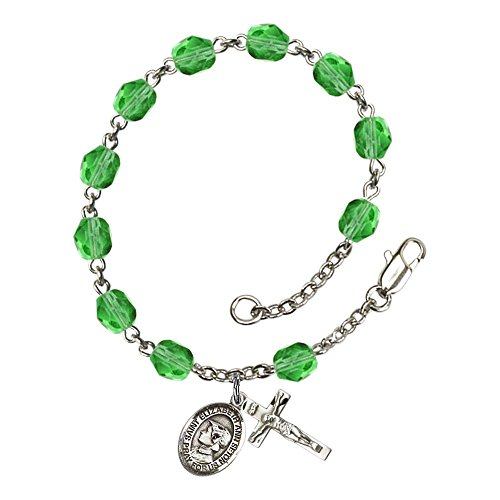Bonyak Jewelry ブレスレット ジュエリー アメリカ アクセサリー 【送料無料】Bonyak Jewelry St. Elizabeth Ann Seton Silver Plate Rosary Bracelet 6mm August Green Fire Polished Beads CruciBonyak Jewelry ブレスレット ジュエリー アメリカ アクセサリー