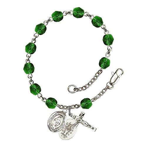 Bonyak Jewelry ブレスレット ジュエリー アメリカ アクセサリー 【送料無料】Bonyak Jewelry Miraculous Silver Plate Rosary Bracelet 6mm May Green Fire Polished Beads Crucifix Size 5/8 x 1Bonyak Jewelry ブレスレット ジュエリー アメリカ アクセサリー