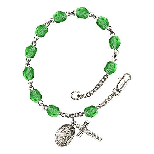 Bonyak Jewelry ブレスレット ジュエリー アメリカ アクセサリー 【送料無料】Bonyak Jewelry St. Theresa Silver Plate Rosary Bracelet 6mm August Green Fire Polished Beads Crucifix Size 5/8Bonyak Jewelry ブレスレット ジュエリー アメリカ アクセサリー