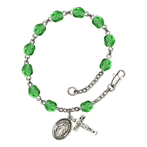 Bonyak Jewelry ブレスレット ジュエリー アメリカ アクセサリー 【送料無料】Bonyak Jewelry Our Lady of Peace Silver Plate Rosary Bracelet 6mm August Green Fire Polished Beads Crucifix SiBonyak Jewelry ブレスレット ジュエリー アメリカ アクセサリー