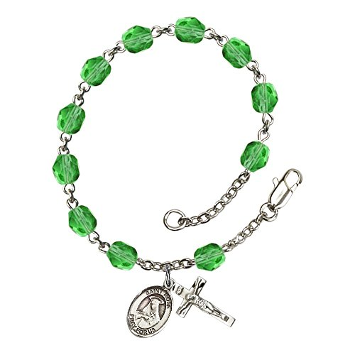 Bonyak Jewelry ブレスレット ジュエリー アメリカ アクセサリー 【送料無料】Bonyak Jewelry St. Rose of Lima Silver Plate Rosary Bracelet 6mm August Green Fire Polished Beads Crucifix SizBonyak Jewelry ブレスレット ジュエリー アメリカ アクセサリー