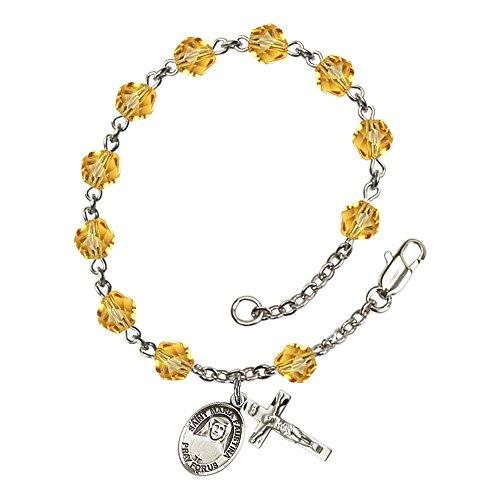 Bonyak Jewelry ブレスレット ジュエリー アメリカ アクセサリー 【送料無料】Bonyak Jewelry St. Maria Faustina Silver Plate Rosary Bracelet 6mm November Yellow Fire Polished Beads CrucifiBonyak Jewelry ブレスレット ジュエリー アメリカ アクセサリー