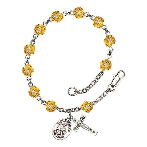 Bonyak Jewelry ブレスレット ジュエリー アメリカ アクセサリー 【送料無料】Bonyak Jewelry St. Eustachius Silver Plate Rosary Bracelet 6mm November Yellow Fire Polished Beads Crucifix SiBonyak Jewelry ブレスレット ジュエリー アメリカ アクセサリー