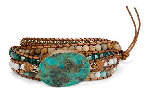 SPUNKYsoul ブレスレット アクセサリー ブランド かわいい SPUNKYsoul Ocean Jasper 5 Wrap Handmade Leather Bead Crystal Wrap Bracelet Collection (5 Wrap Ocean Jasper)SPUNKYsoul ブレスレット アクセサリー ブランド かわいい