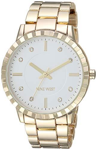 ナインウェスト 腕時計 レディース 【送料無料】Nine West Women's NW/2282SVGP Crystal Accented Gold-Tone Bracelet Watchナインウェスト 腕時計 レディース