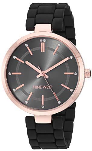 ナインウェスト 腕時計 レディース 【送料無料】Nine West Women's NW/2302RGBK Crystal Accented Rose Gold-Tone and Black Rubberized Bracelet Watchナインウェスト 腕時計 レディース