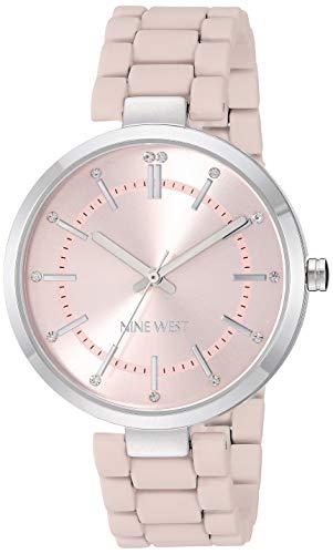 ナインウェスト 腕時計 レディース 【送料無料】Nine West Women's NW/2303PKPK Crystal Accented Silver-Tone and Pink Rubberized Bracelet Watchナインウェスト 腕時計 レディース