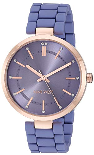 ナインウェスト 腕時計 レディース 【送料無料】Nine West Women's NW/2302RGPR Crystal Accented Rose Gold-Tone and Purple Rubberized Bracelet Watchナインウェスト 腕時計 レディース