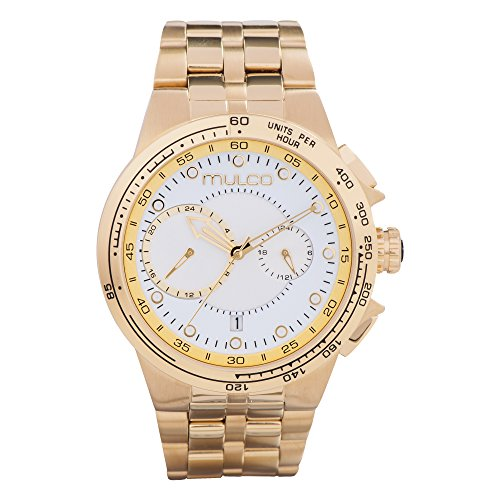 マルコ 腕時計 メンズ 【送料無料】Mulco Lyon Quartz Chronograph Movement Men's Watch | Premium Analog Display Watch Band | Water Resistant Stainless Steel Watch (Gold/White)マルコ 腕時計 メンズ