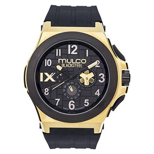 マルコ 腕時計 メンズ 【送料無料】Mulco Blacksteel Men's Watch- Swiss Movement- Water Resistant- Black Silicone Band- MW5-4379-022マルコ 腕時計 メンズ