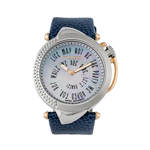 マルコ 腕時計 レディース 【送料無料】Mulco Be Sassy Quartz Swiss Analog Women's Watch | Mother of Pearl Sundial with Rose Gold Accents | Leather Watch Band | Water Resistant Stainless Steel Watch (Blue)マルコ 腕時計 レディース