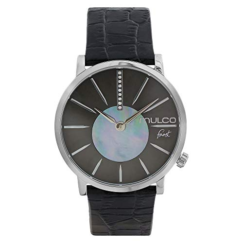 マルコ 腕時計 レディース Mulco Ladies Frost Slim Elegant Minimalist Womens Watch, 42mm Silver Stainless Steel Case, Dial with Mother of Pearl and Stones Accent and Genuine Italian Leather Band (Black)マルコ 腕時計 レディース