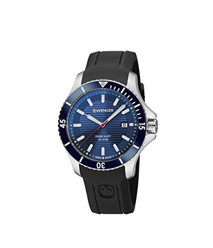 ウェンガー スイス メンズ 腕時計 Wenger Men's Seaforce Stainless-Steel Swiss-Quartz Watch with Silicone Strap, Black, 22 (Model: 01.0641.119)ウェンガー スイス メンズ 腕時計