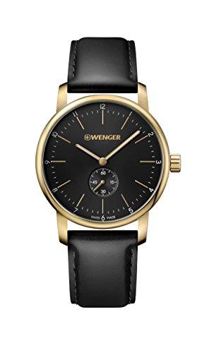 腕時計 ウェンガー スイス メンズ 腕時計 【送料無料】Wenger Men's Classic Swiss-Quartz Watch with Leather Strap, Black, 22 (Model: 01.1741.101)腕時計 ウェンガー スイス メンズ 腕時計