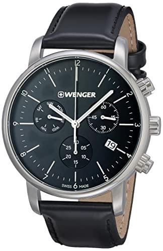 ウェンガー スイス メンズ 腕時計 【送料無料】Wenger Men's Classic Stainless Steel Swiss-Quartz Watch with Leather Strap, Black, 22 (Model: 01.1743.102)ウェンガー スイス メンズ 腕時計