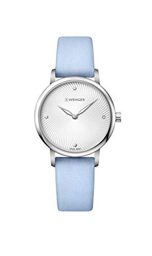 ウェンガー スイス 腕時計 レディース 【送料無料】Wenger Women's Classic Stainless Steel Swiss-Quartz Watch with Satin Strap, Blue, 17 (Model: 01.1721.108)ウェンガー スイス 腕時計 レディース