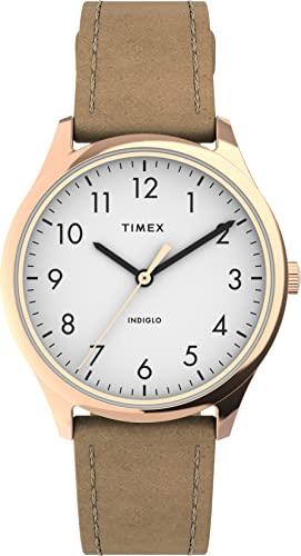 腕時計 タイメックス レディース 【送料無料】Timex Women's TW2T72400 Modern Easy Reader 32mm Beige/Rose Gold/White Genuine Leather Strap Watch腕時計 タイメックス レディース