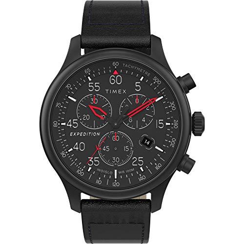 タイメックス 腕時計 メンズ 【送料無料】Timex Men's TW2T73000 Expedition Field Chronograph Blackout Leather Strap Watchタイメックス 腕時計 メンズ