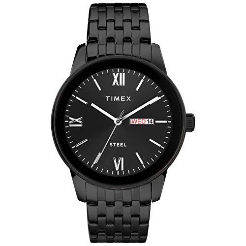 腕時計 タイメックス メンズ 【送料無料】Timex Men's Dress Analog 41mm Stainless Steel Bracelet Watch, Black腕時計 タイメックス メンズ