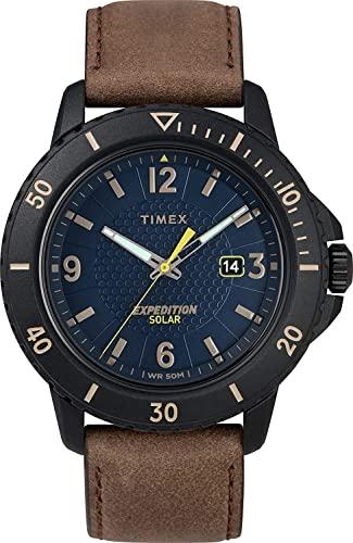腕時計 タイメックス メンズ 【送料無料】Timex Men's Year-Round Solar Powered Watch with Leather Strap, Brown, 22 (Model: TW4B14600)腕時計 タイメックス メンズ
