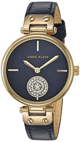 アンクライン 腕時計 レディース 【送料無料】Anne Klein Women's Swarovski Crystal Accented Gold-Tone and Navy Blue Leather Strap Watch, AK/3380NMNVアンクライン 腕時計 レディース